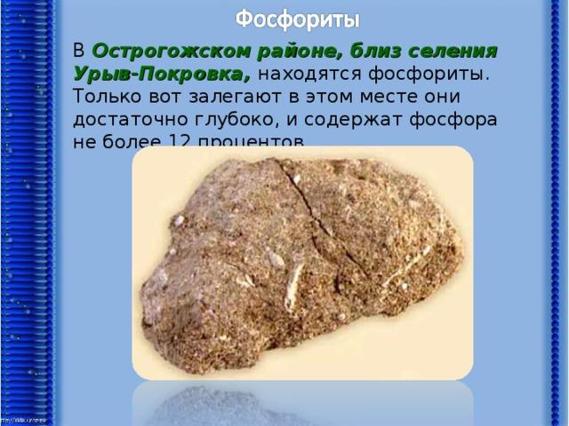 В Острогожском районе, близ селения Урыв-Покровка, находятся фосфориты. Только вот залегают в этом месте они достаточно глубоко, и содержат фосфора не более 12 процентов.