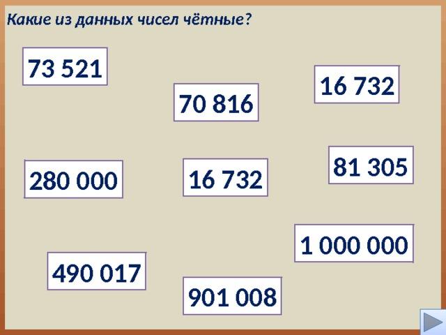 Какие из данных чисел чётные? 73 521 16 732 70 816 81 305 16 732 280 000 1 000 000 490 017 901 008 4