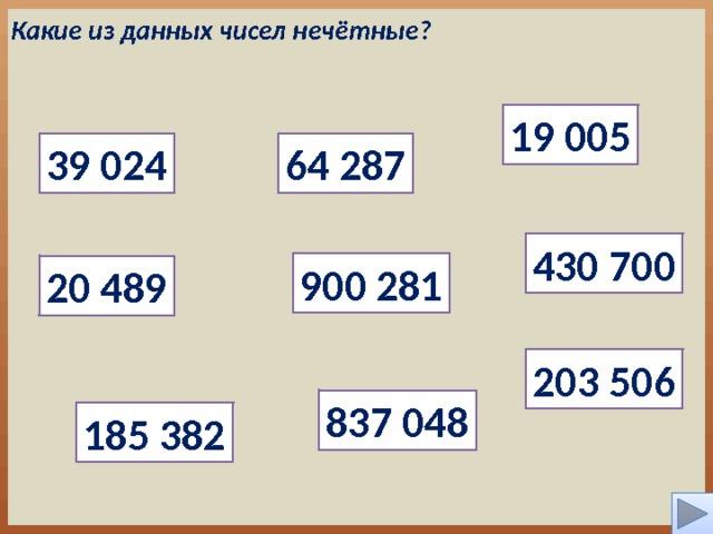 Какие из данных чисел нечётные? 19 005 39 024 64 287 430 700 900 281 20 489 203 506 837 048 185 382 4