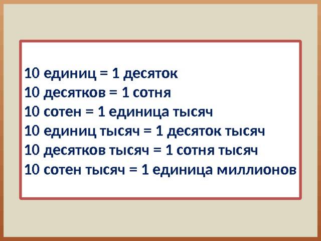 10 единиц = 1 десяток 10 десятков = 1 сотня 10 сотен = 1 единица тысяч 10 единиц тысяч = 1 десяток тысяч 10 десятков тысяч = 1 сотня тысяч 10 сотен тысяч = 1 единица миллионов