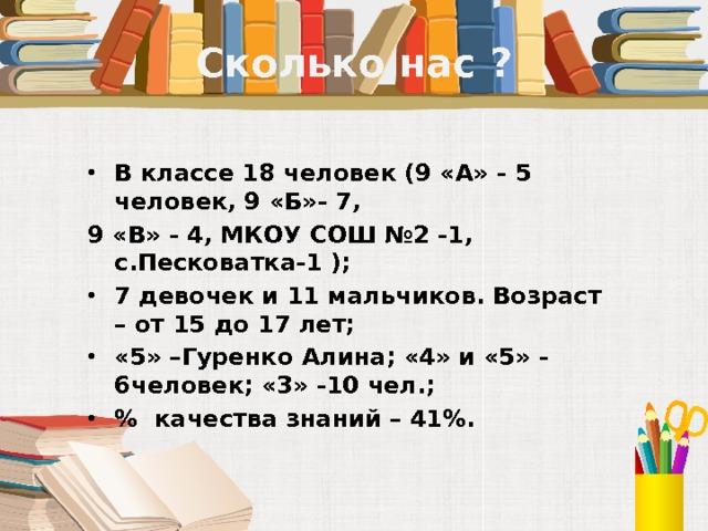 Сколько нас ? В классе 18 человек (9 «А» - 5 человек, 9 «Б»- 7, 9 «В» - 4, МКОУ СОШ №2 -1, с.Песковатка-1 ); 7 девочек и 11 мальчиков. Возраст – от 15 до 17 лет; «5» –Гуренко Алина; «4» и «5» - 6человек; «3» -10 чел.; % качества знаний – 41%.