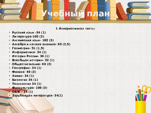 Учебный план I. Инвариативная часть: Русский язык -34 (1) Литература-102 (3) Английский язык- 102 (3) Алгебра и начала анализа- 85 (2,5) Геометрия- 51 (1,5) Информатика- 34 (1) История России- 36 (1) Всеобщая история- 32 (1) Обществознание- 68 (2) География- 34 (1) Физика- 68 (2) Химия- 34 (1) Биология 34 (1) Технология 34 (1) Физкультура- 108 (3) ОБЖ – 34 (1) Зарубежная литература- 34(1)