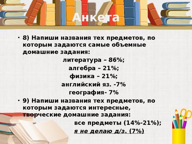 Анкета 8) Напиши названия тех предметов, по которым задаются самые объемные домашние задания: литература – 86%; алгебра – 21%; физика – 21%; английский яз. -7% география- 7% 9) Напиши названия тех предметов, по которым задаются интересные, творческие домашние задания:  все предметы (14%-21%);  я не делаю д/з . (7%)