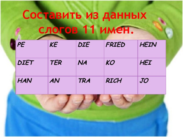 Составить из данных слогов 11 имен. PE KE DIET DIE HAN TER AN FRIED NA HEIN TRA KO RICH HEI JO