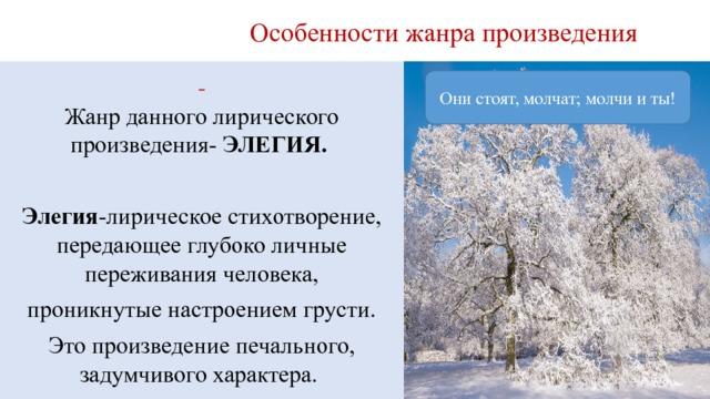 Особенности жанра произведения  Жанр данного лирического произведения- ЭЛЕГИЯ. Элегия -лирическое стихотворение, передающее глубоко личные переживания человека, проникнутые настроением грусти. Это произведение печального, задумчивого характера. Они стоят, молчат; молчи и ты! Кругом зима. Жестокая пора!