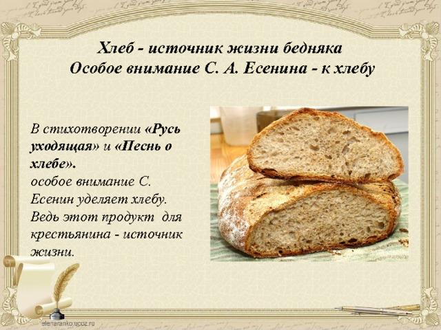 Хлеб - источник жизни бедняка Особое внимание С. А. Есенина - к хлебу В стихотворении «Русь уходящая» и «Песнь о хлебе». особое внимание С. Есенин уделяет хлебу. Ведь этот продукт  для крестьянина - источник жизни.