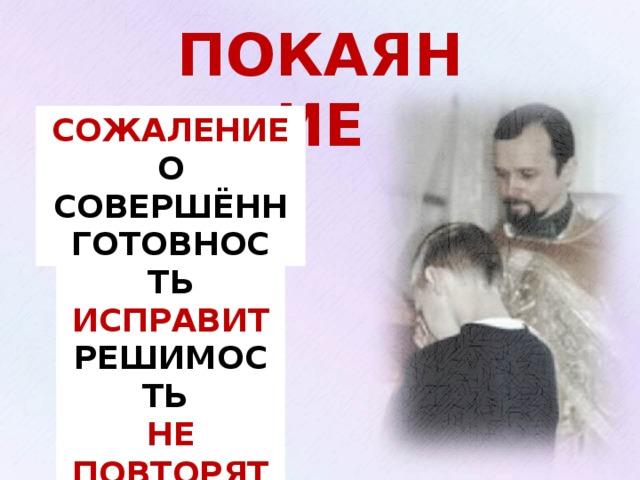 ПОКАЯНИЕ СОЖАЛЕНИЕ О СОВЕРШЁННОМ ГОТОВНОСТЬ ИСПРАВИТЬ Изображение с сайта: http://www.domnus.org/img/cont/5_120.jpg РЕШИМОСТЬ НЕ ПОВТОРЯТЬ