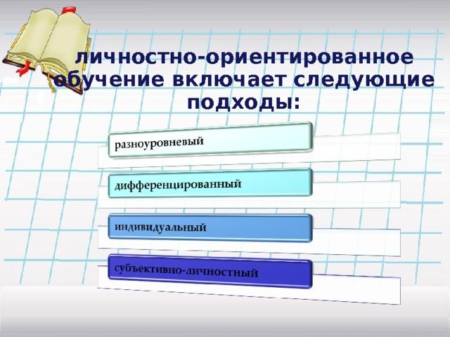 личностно-ориентированное обучение включает следующие подходы: