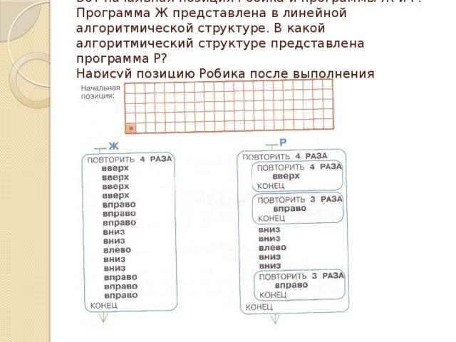 Вот начальная позиция Робика и программы Ж и Р. Программа Ж представлена в линейной алгоритмической структуре. В какой алгоритмический структуре представлена программа Р?  Нарисуй позицию Робика после выполнения программы Р.