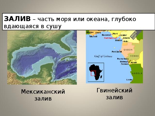 ЗАЛИВ  – часть моря или океана, глубоко вдающаяся в сушу Гвинейский залив Мексиканский залив