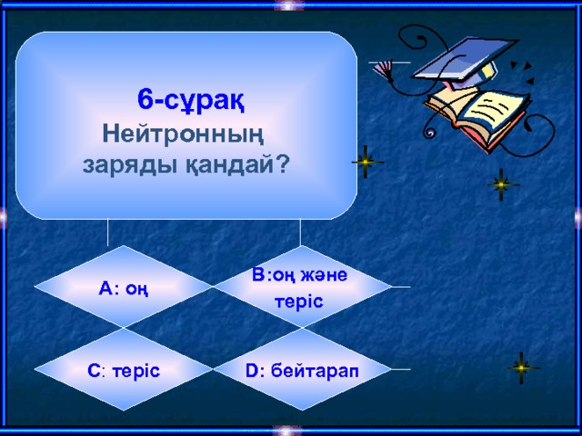 6-сұрақ  Нейтронның заряды қандай? А:  оң B: оң және теріс  C :  теріс D:  бейтарап