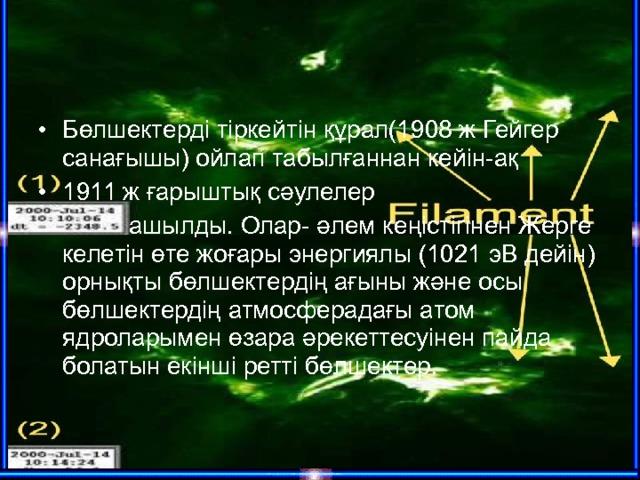 Бөлшектерді тіркейтін құрал(1908 ж Гейгер санағышы) ойлап табылғаннан кейін-ақ 1911 ж ғарыштық сәулелер  ашылды. Олар- әлем кеңістігінен Жерге келетін өте жоғары энергиялы (1021 эВ дейін) орнықты бөлшектердің ағыны және осы бөлшектердің атмосферадағы атом ядроларымен өзара әрекеттесуінен пайда болатын екінші ретті бөлшектер.