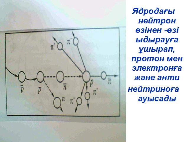 Ядродағы нейтрон өзінен -өзі ыдырауға ұшырап, протон мен электронға және анти нейтриноға ауысады