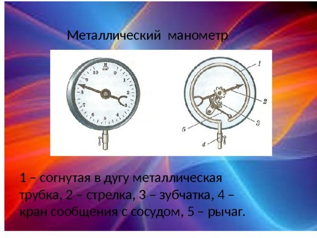 Металлический манометр 1 – согнутая в дугу металлическая трубка, 2 – стрелка, 3 – зубчатка, 4 – кран сообщения с сосудом, 5 – рычаг.