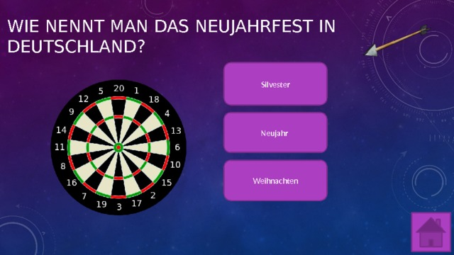 Wie nennt man das Neujahrfest in Deutschland? Silvester Neujahr Weihnachten