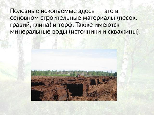 Полезные ископаемые здесь— это в основном строительные материалы (песок, гравий, глина) и торф. Также имеются минеральные воды (источники и скважины).