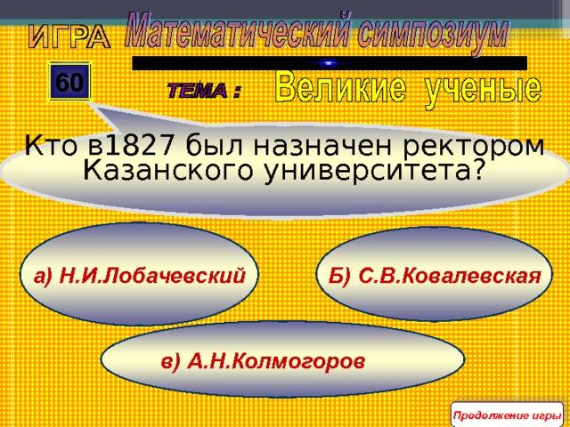 Кто в1827 был назначен ректором Казанского университета? 60 а) Н.И.Лобачевский Б) С.В.Ковалевская в) А.Н.Колмогоров Продолжение игры