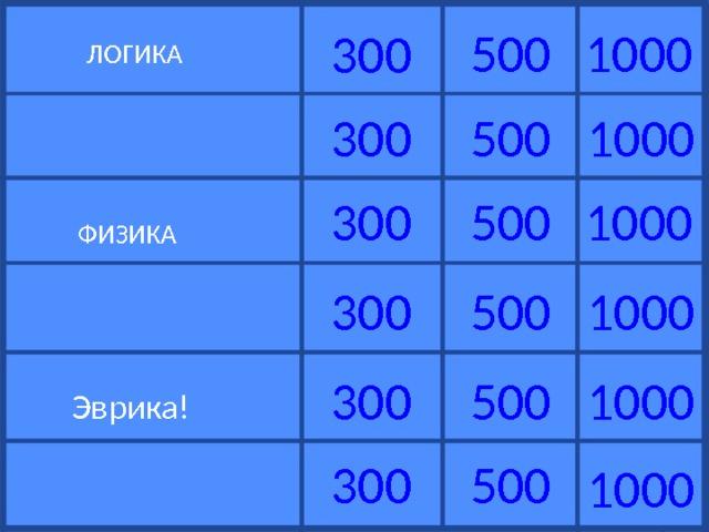 500 1000 300  ЛОГИКА 500 1000 300 500 300 1000  ФИЗИКА 1000 300 500 1000 300 500  Эврика! 500 300 1000