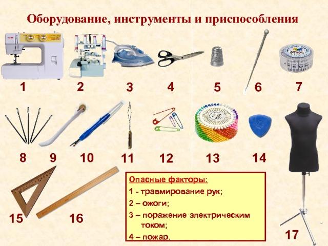 Оборудование, инструменты и приспособления 7 4 2 1 6 5 3 14 8 9 10 11 12 13 Опасные факторы: 1 - травмирование рук; 2 – ожоги; 3 – поражение электрическим током; 4 – пожар. 15 16 17