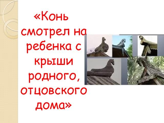 «Конь смотрел на ребенка с крыши родного, отцовского дома»