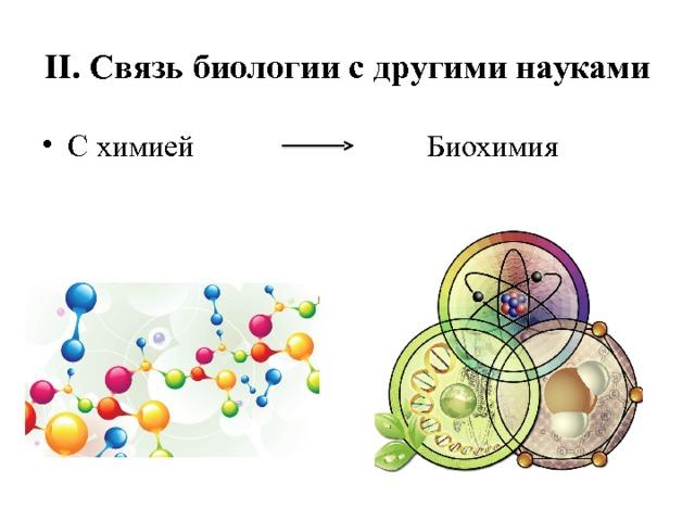 II. Связь биологии с другими науками С химией Биохимия