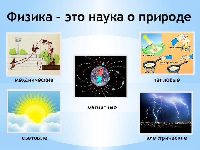 Физика – это наука о природе тепловые механические магнитные световые электрические