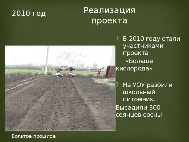 Реализация проекта 2010 год В 2010 году стали участниками проекта  «Больше кислорода». На УОУ разбили школьный питомник. Высадили 300 сеянцев сосны. Богатое прошлое