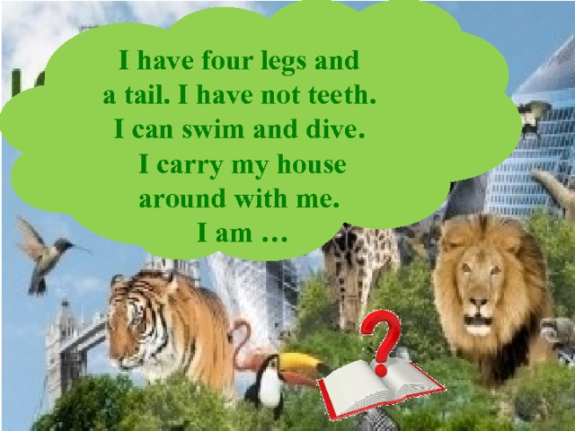 I have four legs and  a tail. I have not teeth.  I can swim and dive.  I carry my house around with me.  I am …