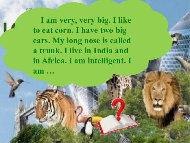 I am very, very big. I like to eat corn. I have two big ears. My long nose is called a trunk. I live in India and in Africa. I am intelligent. I am …
