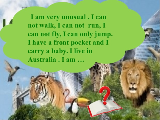 I am very unusual . I can not walk, I can not run, I can not fly, I can only jump. I have a front pocket and I carry a baby. I live in Australia . I am …