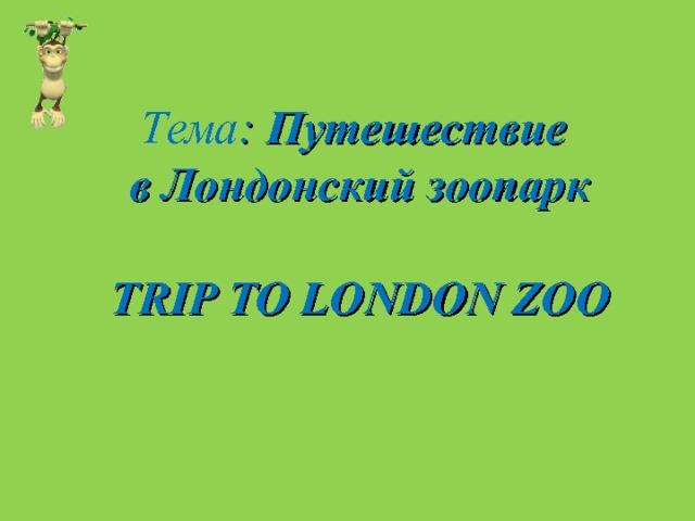Тема : Путешествие  в Лондонский зоопарк   TRIP TO LONDON ZOO