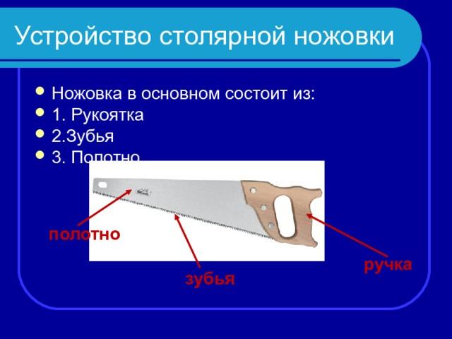 Устройство столярной ножовки Ножовка в основном состоит из:  1. Рукоятка 2.Зубья 3. Полотно полотно ручка зубья