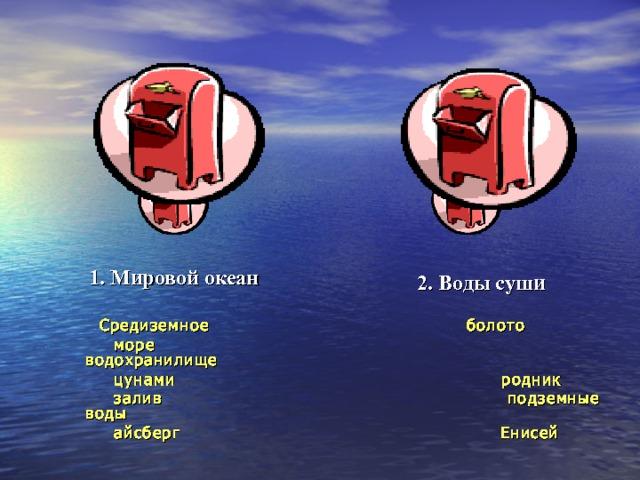 1. Мировой океан 2. Воды суши  Средиземное болото  море водохранилище  цунами родник  залив подземные воды  айсберг Енисей