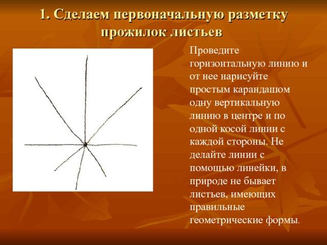 1. Сделаем первоначальную разметку прожилок листьев   Проведите горизонтальную линию и от нее нарисуйте простым карандашом одну вертикальную линию в центре и по одной косой линии с каждой стороны. Не делайте линии с помощью линейки, в природе не бывает листьев, имеющих правильные геометрические формы .