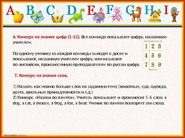 6. Конкурс на знание цифр (1-12).  Вся команда показывает цифру, названную учителем.   По одному ученику из каждой команды выходят к доске и показывают, названную учителем цифру, или называют по-английски, произнесенную преподавателем по-русски цифру.   7. Конкурс на знание слов.   1) Назвать как можно больше слов на заданную тему (животные, еда, одежда, цвета, школьные принадлежности и т.д.)  2) Конкурс «Назови по памяти». Учительпоказываетипроизносит5-6слов: a dog, a cat, a mouse, a frog, a fox, a bear. Ученик по памяти повторяет эти слова.