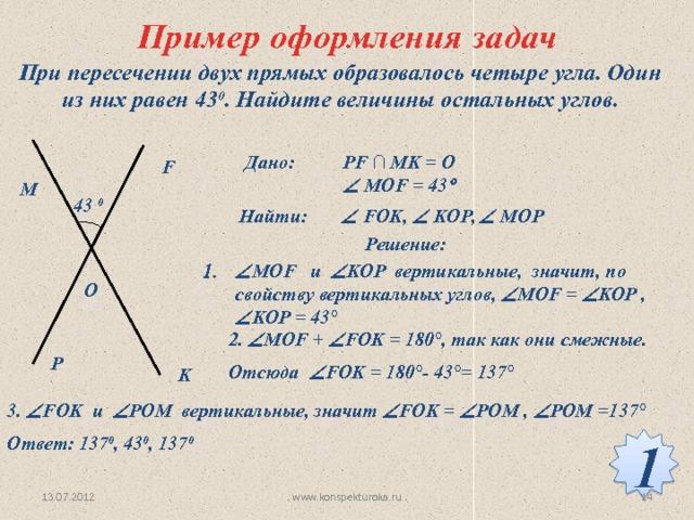 Пример оформления задач При пересечении двух прямых образовалось четыре угла. Один из них равен 43 0 . Найдите величины остальных углов. Дано: PF ∩ MK = O   MOF = 43  F M 43 0   FOK,  KOP,  MOP Найти:  Решение:  МОF и  KOP вертикальные, значит, по свойству вертикальных углов,  МОF =  KOP ,  KOP = 43°  O 2.  МОF +  FOK = 180°, так как они смежные. Отсюда  FOK = 180°- 43°= 137°  P K 3.  FOK и  POM вертикальные, значит  FOK =  POM ,  POM =137°  Ответ: 137 0 , 43 0 , 137 0  1 www.konspekturoka.ru 13.07.2012 14