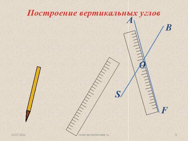 Построение вертикальных углов   А В O S F www.konspekturoka.ru 13.07.2012 8