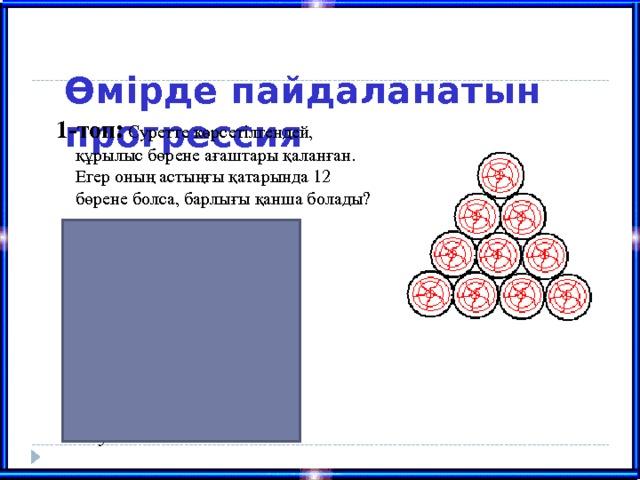 Өмірде пайдаланатын прогрессия   1-топ:  Суретте көрсетілгендей, құрылыс бөрене ағаштары қаланған. Егер оның астыңғы қатарында 12 бөрене болса, барлығы қанша болады?