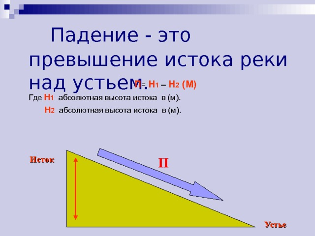 Падение - это превышение истока реки над устьем. П = Н 1 – Н 2 (М) Где Н 1  абсолютная высота истока в (м).  Н 2  абсолютная высота истока в (м). П Исток Устье