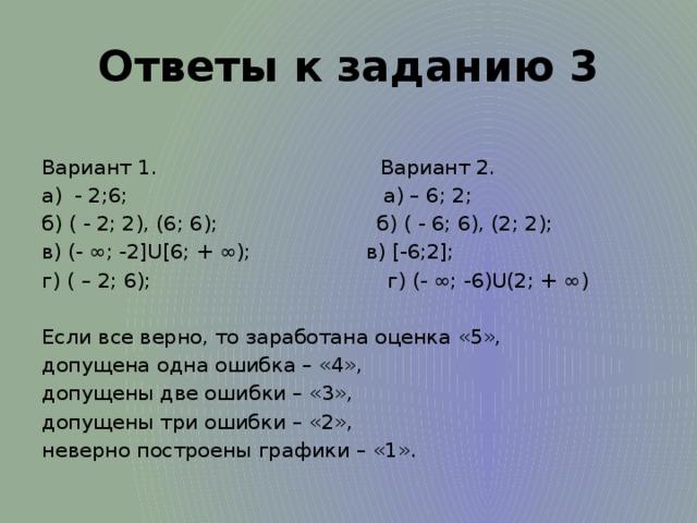 Ответы к заданию 3 Вариант 1. Вариант 2. а) - 2;6; а) – 6; 2; б) ( - 2; 2), (6; 6); б) ( - 6; 6), (2; 2); в) (- ∞; -2]U[6; + ∞); в) [-6;2]; г) ( – 2; 6); г) (- ∞; -6)U(2; + ∞)  Если все верно, то заработана оценка «5», допущена одна ошибка – «4», допущены две ошибки – «3», допущены три ошибки – «2», неверно построены графики – «1».