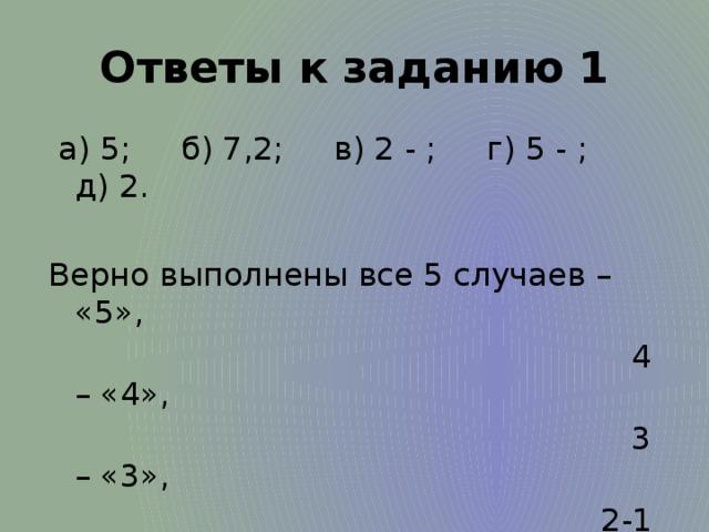 Ответы к заданию 1  а) 5; б) 7,2; в) 2 - ; г) 5 - ; д) 2. Верно выполнены все 5 случаев – «5»,  4 – «4»,  3 – «3»,  2-1 – «2».