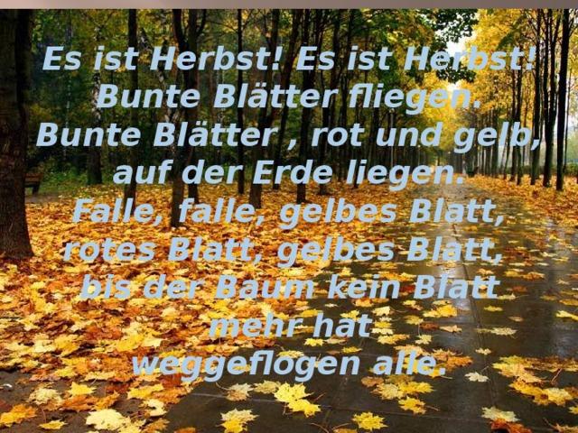 Es ist Herbst! Es ist Herbst!  Bunte Blätter fliegen.  Bunte Blätter , rot und gelb,  auf der Erde liegen.  Falle, falle, gelbes Blatt,  rotes Blatt, gelbes Blatt,  bis der Baum kein Blatt mehr hat  weggeflogen alle.