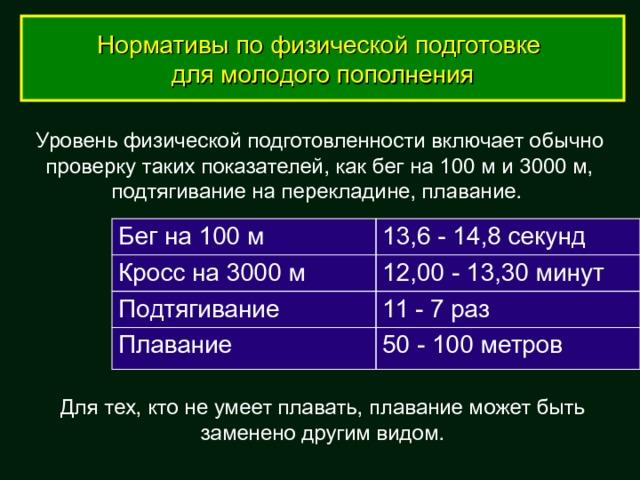 Нормативы по физической подготовке для молодого пополнения Уровень физической подготовленности включает обычно проверку таких показателей, как бег на 100 м и 3000 м, подтягивание на перекладине, плавание. Бег на 100 м Кросс на 3000 м 13,6 - 14,8 секунд Подтягивание 12,00 - 13,30 минут Плавание 11 - 7 раз 50 - 100 метров Для тех, кто не умеет плавать, плавание может быть заменено другим видом.