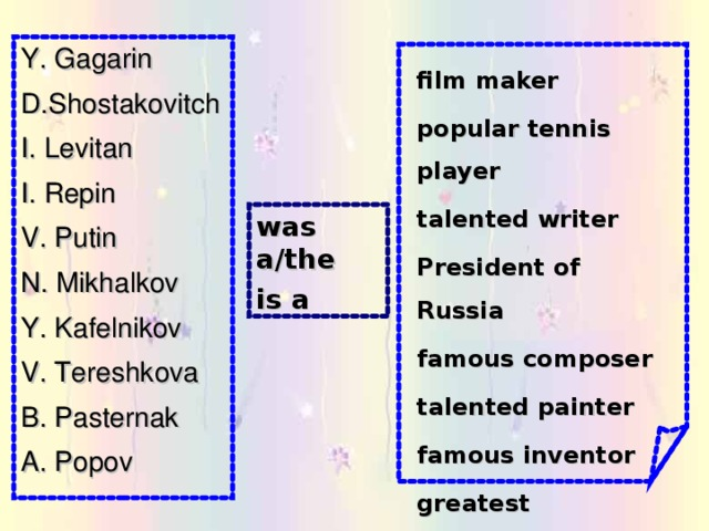 Y. Gagarin D.Shostakovitch I. Levitan I. Repin V. Putin N. Mikhalkov Y. Kafelnikov V. Tereshkova B. Pasternak A. Popov film maker popular tennis player talented writer President of Russia famous composer talented painter famous inventor greatest cosmonaut was a/the is a
