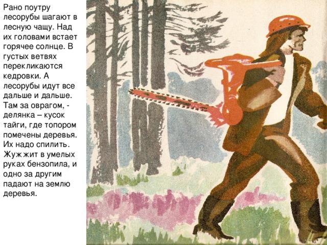 Рано поутру лесорубы шагают в лесную чащу. Над их головами встает горячее солнце. В густых ветвях перекликаются кедровки. А лесорубы идут все дальше и дальше. Там за оврагом, - делянка – кусок тайги, где топором помечены деревья. Их надо спилить. Жужжит в умелых руках бензопила, и одно за другим падают на землю деревья.