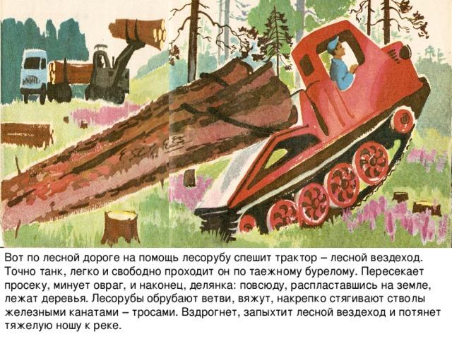 Вот по лесной дороге на помощь лесорубу спешит трактор – лесной вездеход. Точно танк, легко и свободно проходит он по таежному бурелому. Пересекает просеку, минует овраг, и наконец, делянка: повсюду, распластавшись на земле, лежат деревья. Лесорубы обрубают ветви, вяжут, накрепко стягивают стволы железными канатами – тросами. Вздрогнет, запыхтит лесной вездеход и потянет тяжелую ношу к реке.