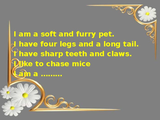 I am a soft and furry pet. I have four legs and a long tail. I have sharp teeth and claws. I like to chase mice I am a ………