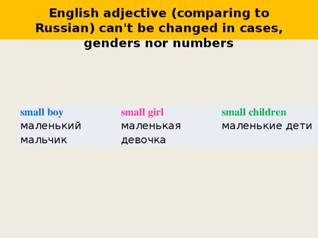 English adjective (comparing to Russian) can't be changed in cases, genders nor numbers small boy маленький мальчик small girl small children маленькая девочка маленькие дети
