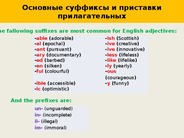 Основные суффиксы и приставки прилагательных The fallowing suffixes are most common for English adjectives : - able ( adorable ) - ish ( Scottish ) - al ( epochal ) - ive ( creative ) - ant ( pursuant ) - ive ( innovative ) - ary ( documentary ) - less ( lifeless ) - ed ( barbed ) - en ( silken ) - like ( lifelike ) - ly ( yearly ) - ful ( colourful ) - ous ( courageous ) - ible ( accessible ) - y ( funny ) - ic ( optimistic ) And the prefixes are : un- (unguarded) in- (incomplete) il- (illegal) im- (immoral)
