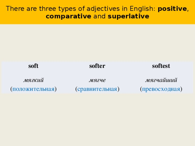 There are three types of adjectives in English: positive , comparative and superlative soft мягкий ( положительная ) softer softest мягче ( сравнительная ) мягчайший ( превосходная )